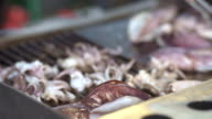 Delicious Grilled Squid on Hot Grill Pan video