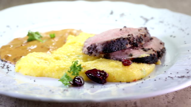 Delicious steak with vegetables and puree - dolly video video