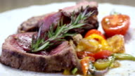 Delicious steak with vegetables - dolly video video