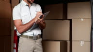 Delivery driver checking his list video