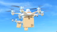 Delivery drones flying in the sky video