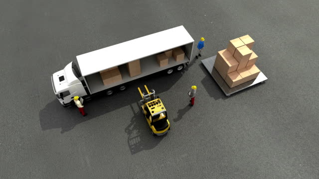 delivery of goods on truck, Digital Tracking goods, internet of things technology. video