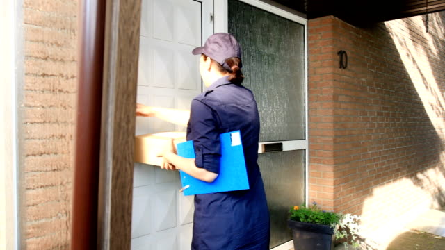 Delivery worker delivers packages video