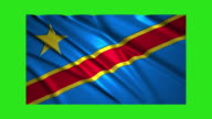 Democratic Republic of the Congo flag waving,loopable on green screen video