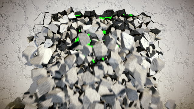 Demolition of a Concrete Wall with Green Background. video