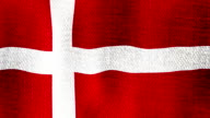 Denmark Flag Waving Fast SlowlySeamless Looping (Realistic Fabric Texture, Endless Loop) video
