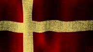 Denmark Flag Waving Fast SlowlySeamless Looping (Sunny, Golden Realistic Fabric Texture, Endless Loop) video