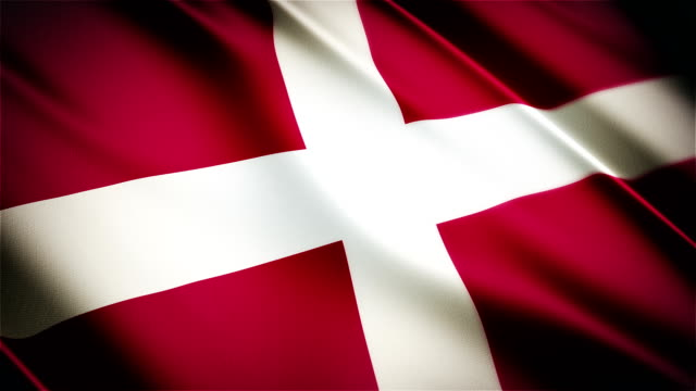 Denmark realistic national flag seamless looped waving animation video