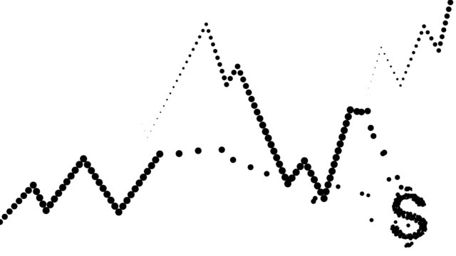 POSITIVE/CONSTANT TREND CHART- dense, dollar icon, pure black dots (LOOP) video