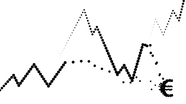 POSITIVE/CONSTANT TREND CHART- dense, euro icon, pure black dots (LOOP) video