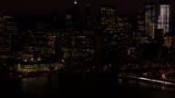 AERIAL: Dense traffic on Brooklyn Bridge freeway leading to downtown Manhattan video