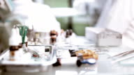 Dental tools on a table. Selective focus. video