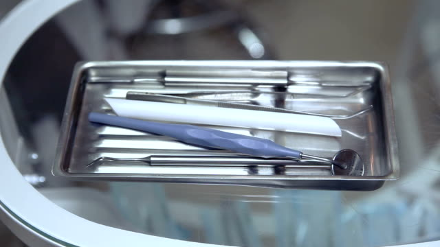 Dental tools on the table video