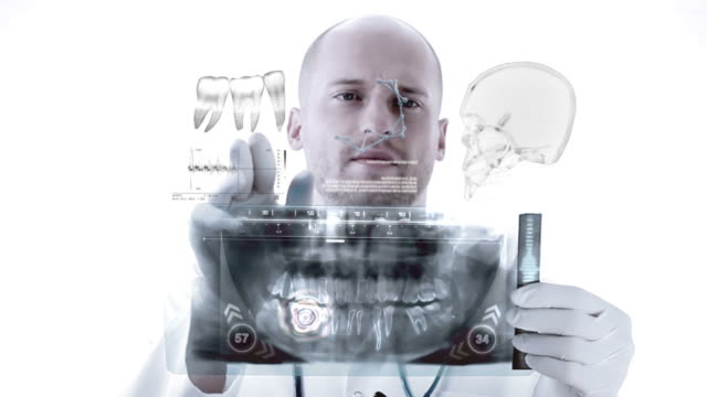 Dentist examining X-Ray image. Animation video