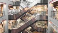 4K : Department store escalators video