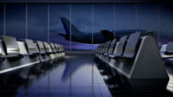 Departure airplane in flight waiting hall. night. moving camera. video