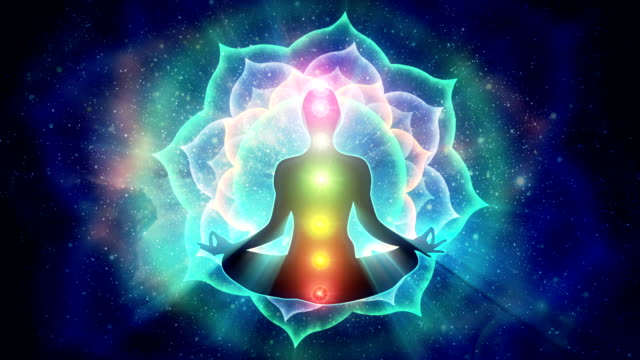 Depiction of 7 chakras in human body video