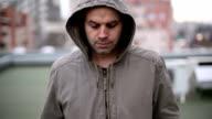 Depressed man walking outside video