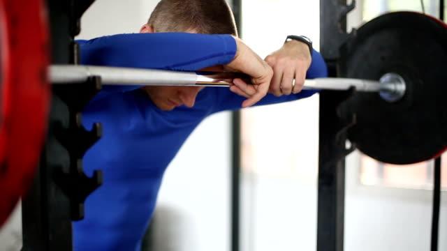 Depressed sportsman in the gym video