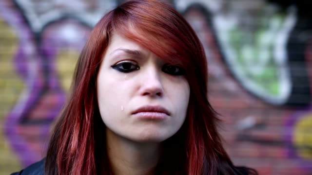 Depressed teenage girl crying video