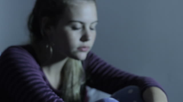 Depressed Unhappy Young Suicidal Teenage Girl on Bed video