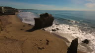 Deserted Wild El Matador Beach Malibu California Aerial Ocean View - Waves with Rocks video