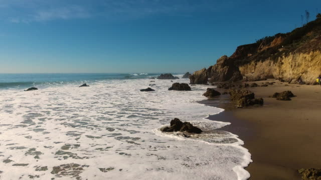 Deserted Wild El Matador Beach Malibu California Aerial Ocean View - Waves with Rocks video