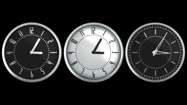 Design wall clocks. Loopable. Luma matte. Black and white. video