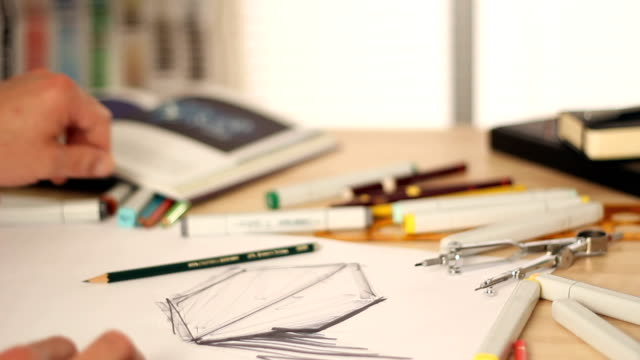 Designer drawing and sketching video
