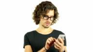 Designer in Glasses Surfing, Browsing on Smartphone video