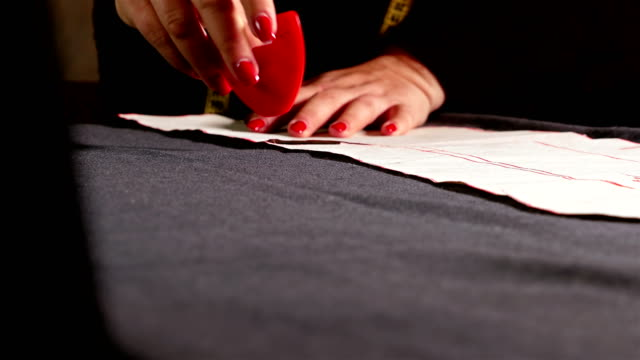 Designer measuring cloth for sewing with chalk video