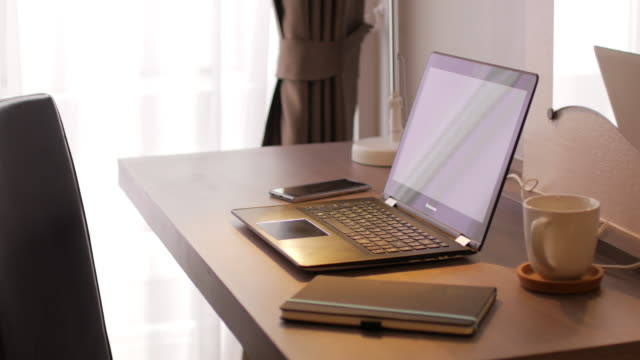 Desk for working , laptop , notbook , Mobile Phone and hot coffee video