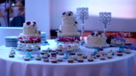 Dessert table with pretty cakes and cookies video
