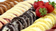 Dessert tray strawberry and cream filled Swiss Roll Cakes. video
