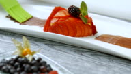 Dessert with mint and strawberries. video