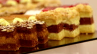 MEDIUM SHOT PANNING Desserts, cakes and fruit arranged for party video
