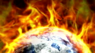 Destroyed Earth and Flames Background video