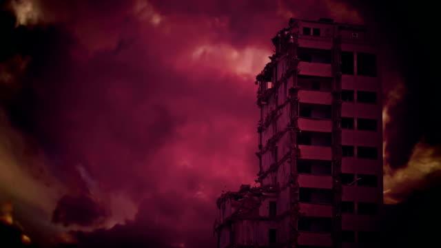 Destroyed skyscraper. video