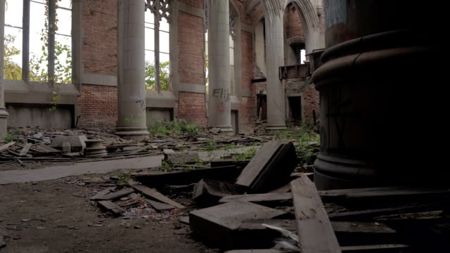 CLOSE UP: Destruction and decay in abandoned City Methodist Church, Gary, USA video