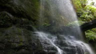 Detail bottom of a waterfall.Slow motion. video