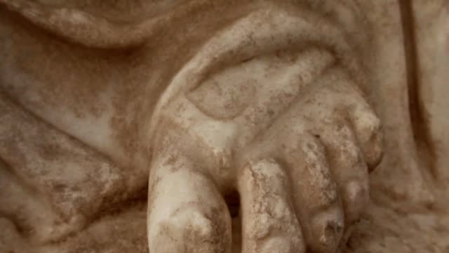 Detail foot of antique white headless statue ancient town Salamis east Cyprus Famagusta video