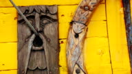 Detail of a old viking boat at harbor video