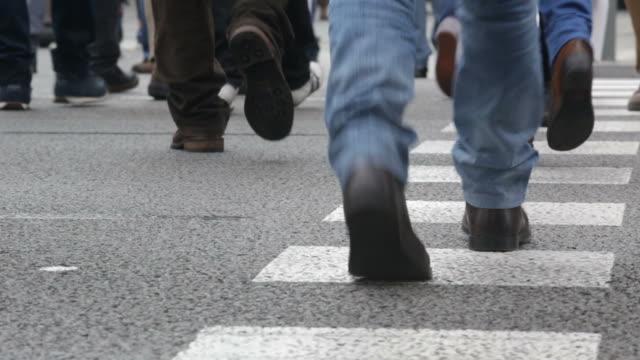 Detail of feet across a crosswalk.Time Lapse. 01-04 video