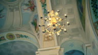 detail of of the Orthodox Church. Bright dome and chandelier video
