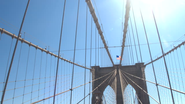 CLOSE UP: Detail of wires and structure of stunning Brooklyn suspension bridge video