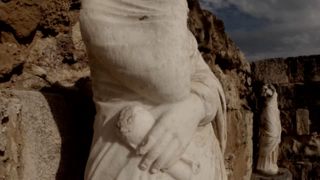 Details antique white headless statue panorama ancient town Salamis east Cyprus Famagusta video