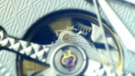 Details of cogs in a mechanical watch video