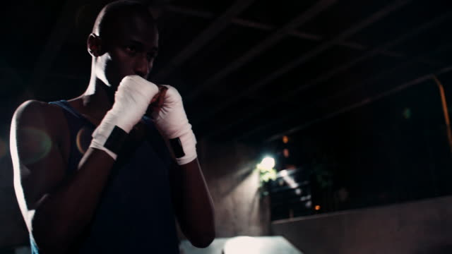 Determined and focused afro-american boxer flexing muscles video