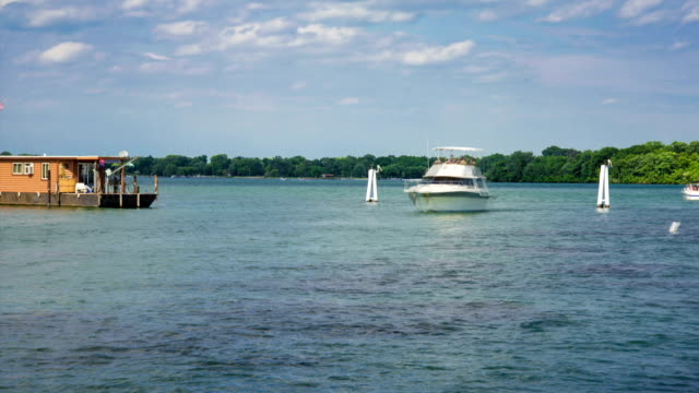 Detroit River South Boat Marina Time Lapse video