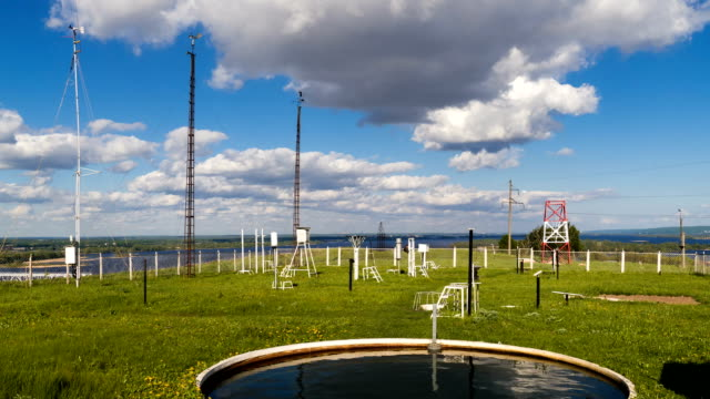 Devices for measuring wind speed, rainfall at weather station at summer day. Timelapse video